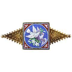 Victorian Italian Dove Micro Mosaic Gold Brooch
