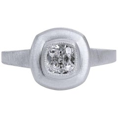 GIA Certified 0.59 Carat  Bezel Set Cuhion Diamond Platinum Engagement Ring