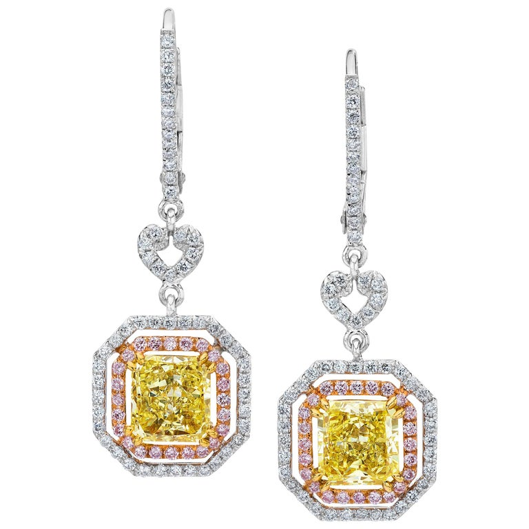 GIA Certified Fancy Yellow Diamond Halo Dangle Earrings