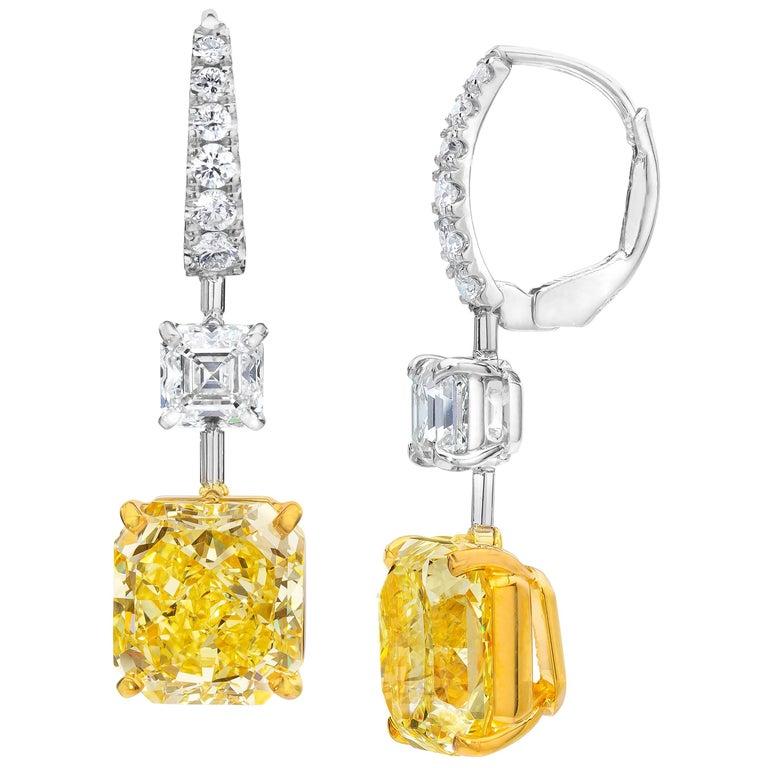 GIA Certified Fancy Intense Yellow Diamond Dangle Earrings