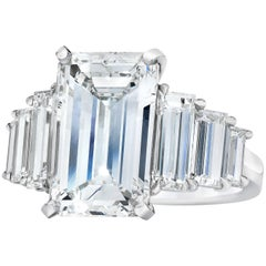 GIA Certified Emerald Cut Diamond Seven-Stone Engagement Ring