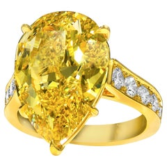GIA Report 10.06 Carat Fancy Deep Yellow Diamond Engagement Ring