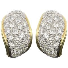 Yellow and White Gold 3.60 Carat Pave Diamond Paisley Shaped Earrings