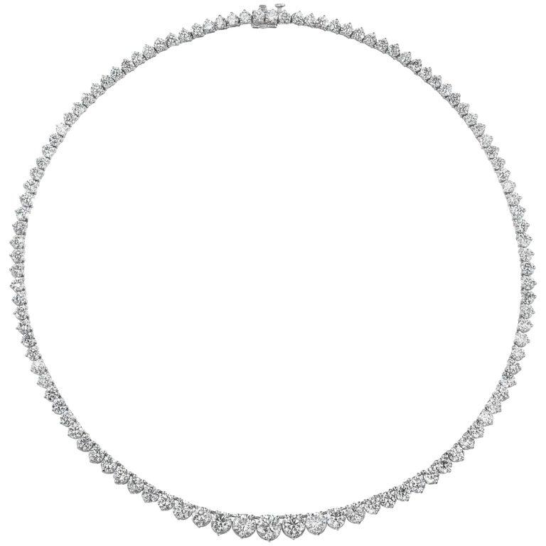 7.15 Carat Round Brilliant Diamond Platinum Riviere Necklace