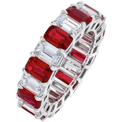 Alternating Emerald Cut Ruby and Diamond Eternity Wedding Band