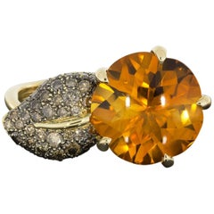 Chanel Citrine and Cognac Diamond Camellia Aquatique Flower Ring