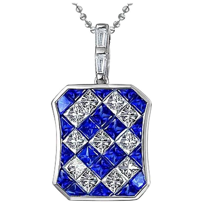 Blue Sapphire Diamond White Gold Invisible Set Pendant Necklace For Sale