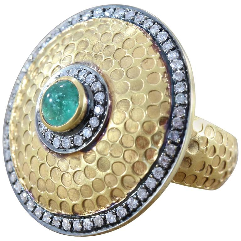 Diamond Emerald Gold Shield Ring For Sale