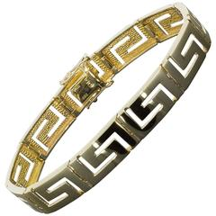 Yellow Gold Greek Key or Open Square Scroll Design Bracelet
