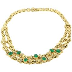 Cabochon Emeralds and Diamond Gold Necklace