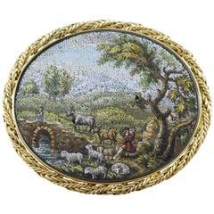 Victorian Hardstone Micro Mosaic Gold Brooch