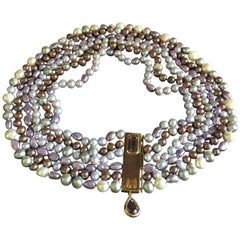 Queen Elisabeth Necklace Freshwater Pearls Gold Amethyst