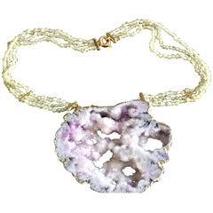 Crazy Druzy Necklace Gold Amethyst Geode Faced Adularia