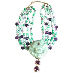 Foo Dog Necklace Five-String Jade Amethyst Antiques Carved Tiger Stone