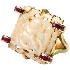 Antiques Carved Jade Ruby Gold Secret Cocktail Ring