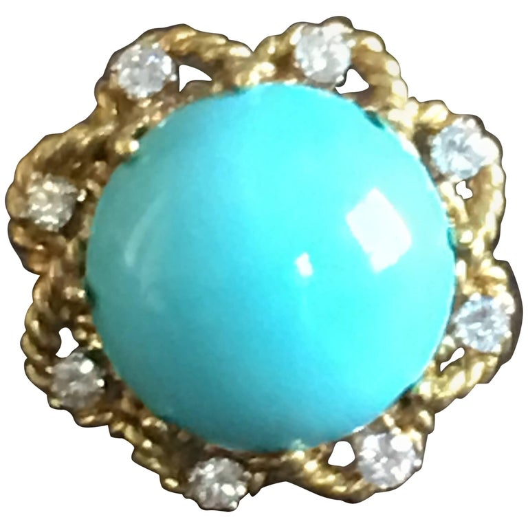 Cocktail Ring Cabochon Natural Turquoise Diamonds Gold  Desert Flower Ring