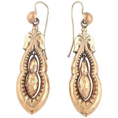 1890s Victorian Gold Pendant Earrings