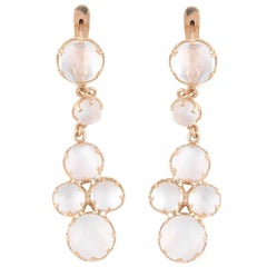 Pair of Moonstone Yellow Gold Drop Earrings