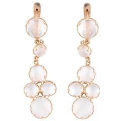 Pair of Moonstone Yellow Gold Drop Earrings