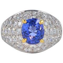 2.40 Carat Tanzanite 3.80 Carat Diamond Vintage Platinum Ring