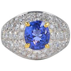 2.40 Carat Tanzanite 3.80 Carat Diamond Vintage Platinum Ring