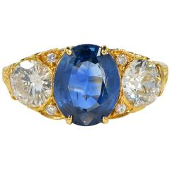 Victorian 2.60 Carat Natural No Heat Sapphire 1.40 Carat Diamond Trilogy Ring