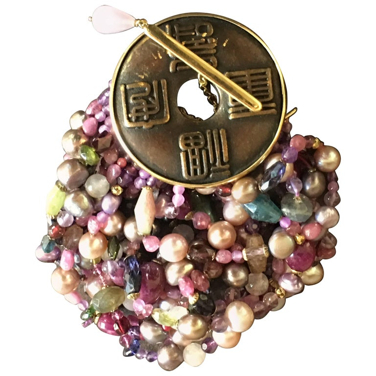 Pearls Rubellite Ruby Tourmaline Gold Coin Bracelet