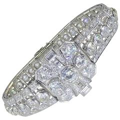 Art Deco Diamond Bracelet, Old Cut Diamonds, 16 Carat
