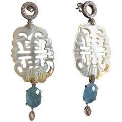 Carved Mother-of-Pearl Diamonds White Gold Calcedonio Earrings Venezia