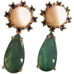Long Faced Serpentine Drop Coral Tanzanite Gold Dheli Earrings