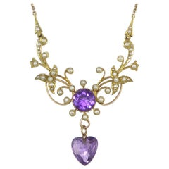 Victorian Necklace, Amethyst and Pearl, Heart Shaped Pendant Drop, Stamped 15ct