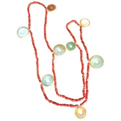 Rainbow Jade Long Necklace Italian Coral Different Colored Jade Bi Gold