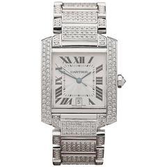 Cartier Tank Francaise 18 Karat White Gold Unisex 2366, 2000