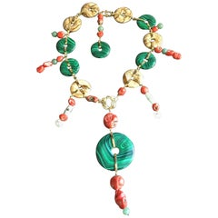 Coral Jade Malachite Coral Diamonds Jasper Kyushu Necklace