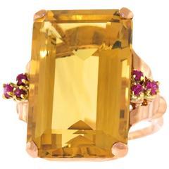 Retro Large Citrine Ruby Gold Ring
