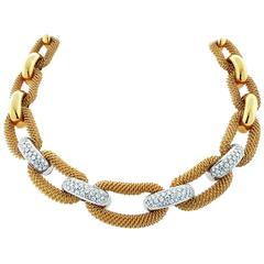Outstanding Woven Link Diamond Necklace