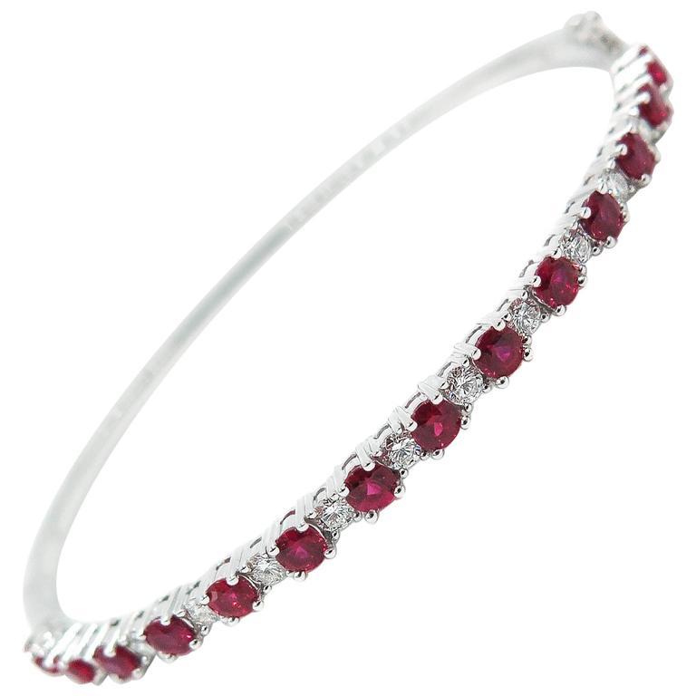 Ruby Diamond White Gold Bangle Bracelet