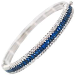 Sapphire Diamond White Gold Bangle Bracelet