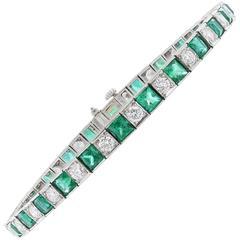 Oscar Heyman Emerald Diamond Platinum Tennis Style Bracelet