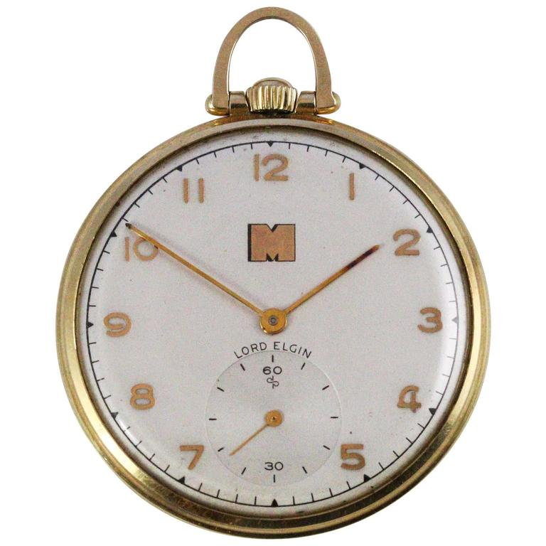 1948 Yellow Gold Lord Elgin Pocket Watch Presented by Monsanto 1