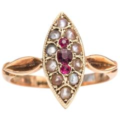 1890s Victorian Garnet and Seed Pearl 9 Karat Rose Gold Ring