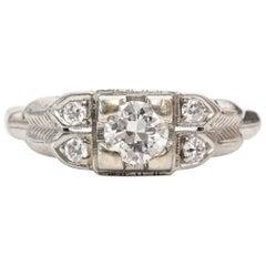 1930s Art Deco .30 Carat Old European Diamond White Gold Engagement Ring