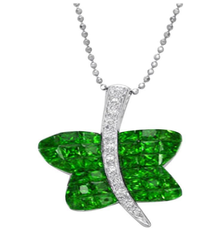 Tsavorite Garnet Diamond Gold Butterfly Pendant For Sale
