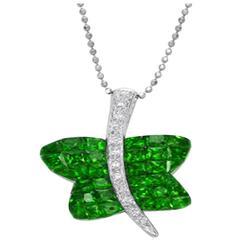 Tsavorite Garnet Diamond Gold Butterfly Pendant