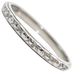 1930s Art Deco Handmade Etched 18 Karat White Gold Wedding Band