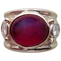 Michael Kneebone Rubelite White Diamond Yellow Gold Bombe Ring