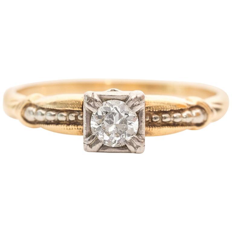 1930s Art Deco 20 Carat Old European Diamond Solitaire Engagement