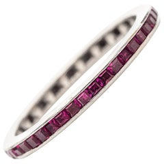 1950s Red Ruby Eternity Wedding Band Ring