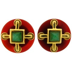 Cartier Aldo Cipullo Carnelian Chrysophrase Yellow Gold Earrings