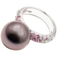 Cartier Tahitian Pearl Diamond and Pink Sapphire White Gold Ring
